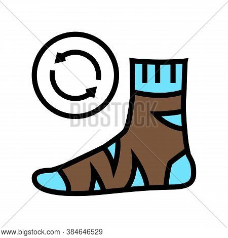 Useless Sock Color Icon Vector. Useless Sock Sign. Isolated Symbol Illustration