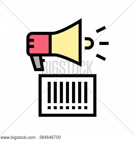 Qr Code Loudspeaker Color Icon Vector. Qr Code Loudspeaker Sign. Isolated Symbol Illustration