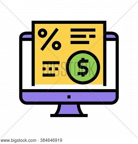 Electronic Investment Agreement Color Icon Vector. Electronic Investment Agreement Sign. Isolated Sy