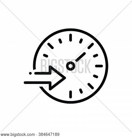 Black Line Icon For Speed Rate Tempo Pace Motion Rapid Swift Expeditiously Cursorily Hurriedly Quick