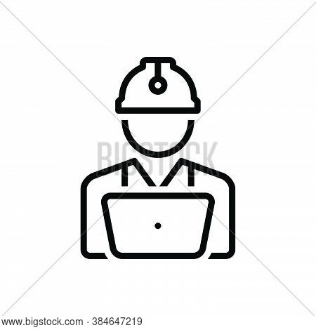 Black Line Icon For Worker Roustabout Engineer Craftsmen Builder Hardhat Employee Construction Contr