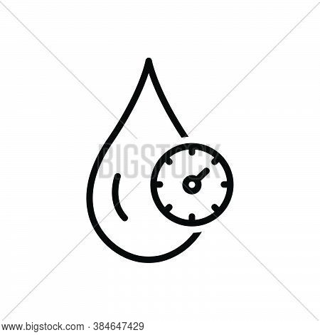 Black Line Icon For Cholesterol Cardiology Fitness Blood Control Gauge Health Indicator Drop