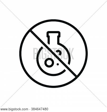 Black Line Icon For Conservative Preservative Chemical Experience Danger Forbidden Caution Flask