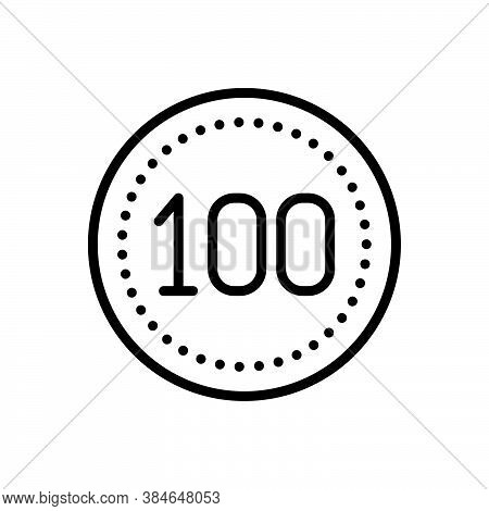 Black Line Icon For Hundred Score Guarantee Digit Mathematical Cent Century Calculated Numerical Num