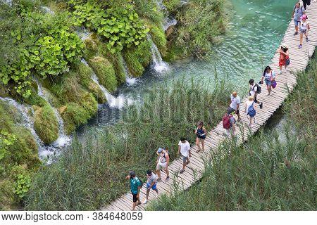 Plitvice Lakes, Croatia - September 2, 2019:  Plitvice Lakes National Park, A Miracle Of Nature, Tou