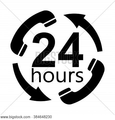 Round The Clock Service Support Working, Vector Black Icon Handset Arrows 24 Hours Day, Round Clock