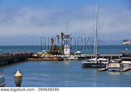 San Francisco / United States - 12 Jul 2017: The Marina In San Francisco City, West Coast, United St