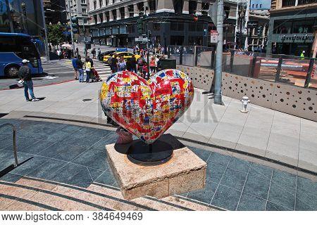 San Francisco / United States - 13 Jul 2017: The Monument In San Francisco City, West Coast, United