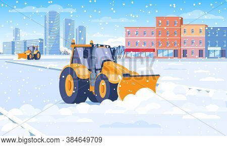 Snow Plough Clearing Snow From A City Street In Winter In A Concept Of The Seasons And Transport, Co