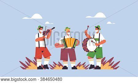 Musicians Playing Musical Instruments On Folk Festival Oktoberfest Party Celebration Concept Perform