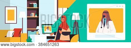 Arab Doctor On Laptop Screen Consulting Arabic Female Patient Online Consultation Healthcare Medicin