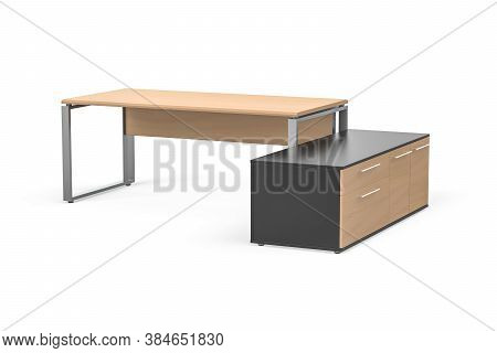 Modern Bright Pine Desk With Metal Legs - Next To The Desk Additionally A Graphite Cabinet With Pine
