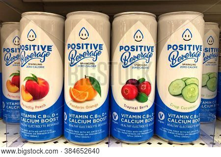 Alameda, Ca - Sept 7, 2020: Grocery Store Shelf With Cans Of Positive Beverage Brand Sparkling Elect