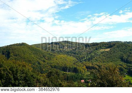 View From The Castle Viewpoint On The Wooded Hills In The Foothills Of The Beskydy Mountains With A
