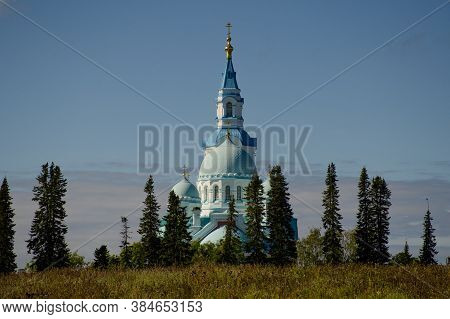 Spaso-preobrazhensky Valaam Cathedral Against The Blue Sky. Horizontal Photo, Concept Of Travel And