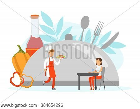 Restaurant Stuff Serving Client, Tiny Chef Character In Uniform And Cap Vector Illustration