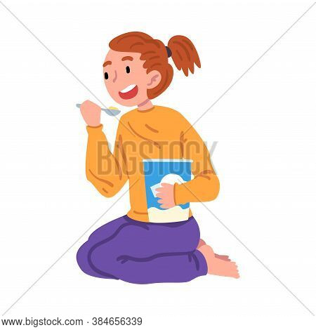 Slumber Party, Cute Girl In Pajamas Sitting On Floor And Eating Ice Cream Cartoon Style Vector Illus