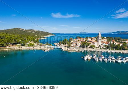 Aerial View Of Old Historic Town Of Osor With Bridge Connecting Islands Cres And Losinj, Croatia