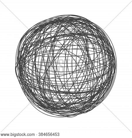 Tangle Chaos Abstract Hand Drawn Messy Scribble Sphere Ball Vector Illustration. Random Chaotic Dyna