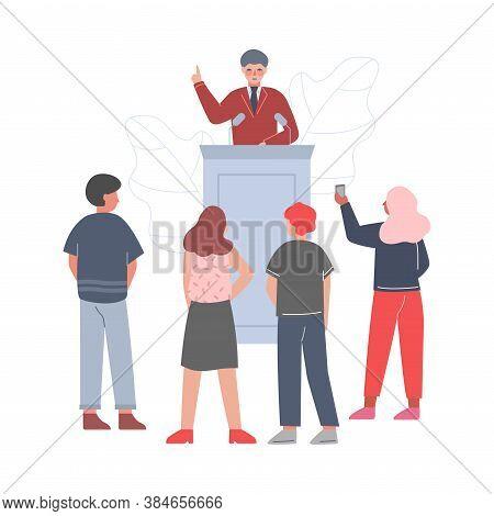 Businessman Standing Behind Rostrum Giving Speech, Man Public Speaker Giving Talk In Front Of Audien