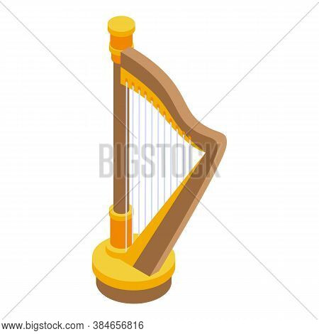 Harp Music Icon. Isometric Of Harp Music Vector Icon For Web Design Isolated On White Background