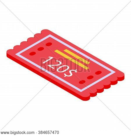 Lottery Ticket Icon. Isometric Of Lottery Ticket Vector Icon For Web Design Isolated On White Backgr