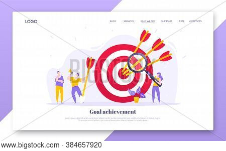 Goal Achievement Business Concept Sport Target Icon And Arrows In The Bullseye. Tiny People With Mag
