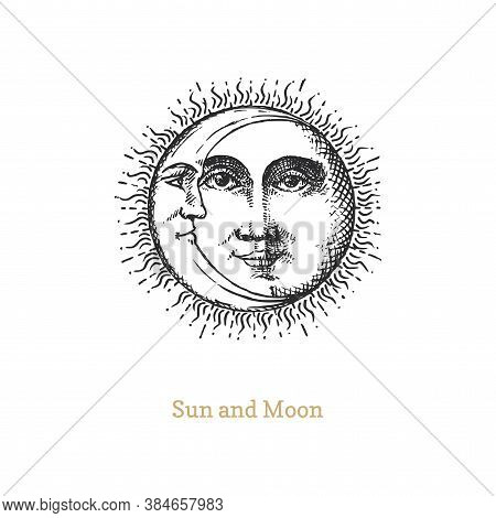 Sun And Moon, Hand Drawn In Engraving Style.