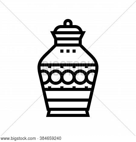 Funeral Urn Line Icon Vector. Funeral Urn Sign. Isolated Contour Symbol Black Illustration