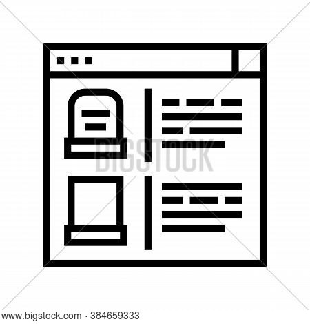 Tombstone Internet Store Line Icon Vector. Tombstone Internet Store Sign. Isolated Contour Symbol Bl