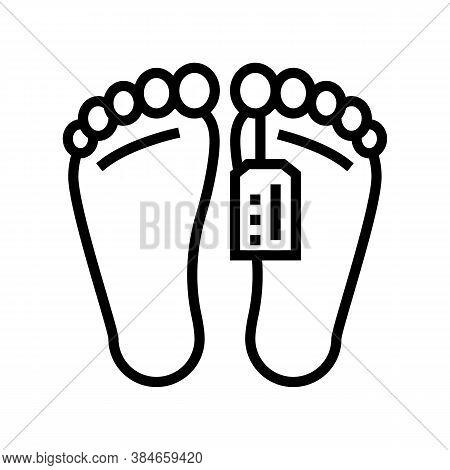 Dead Human In Morgue Line Icon Vector. Dead Human In Morgue Sign. Isolated Contour Symbol Black Illu