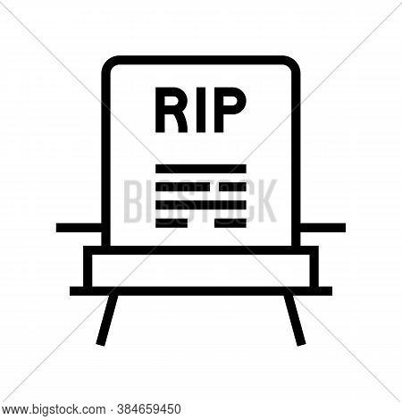 Rip Gravestone Line Icon Vector. Rip Gravestone Sign. Isolated Contour Symbol Black Illustration