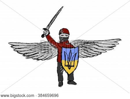 Colored Vector Character Of Ukraine Modern Guardian Angel. Grunge Lineart Drawing Of Winged Warrior