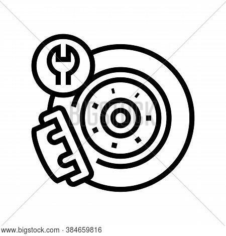 Brake Disc Repair Line Icon Vector. Brake Disc Repair Sign. Isolated Contour Symbol Black Illustrati