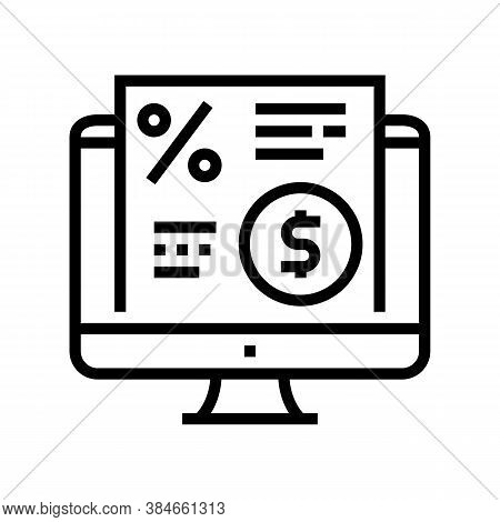 Electronic Investment Agreement Line Icon Vector. Electronic Investment Agreement Sign. Isolated Con
