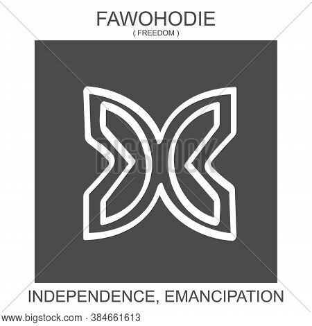 Vector Icon With African Adinkra Symbol Fawohodie. Symbol Of Emancipation And Independence