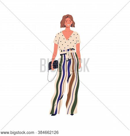 Smiling Trendy Person Demonstrate Modern Vogue Vector Flat Illustration. Stylish Young Woman Standin