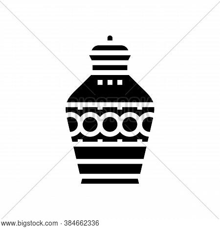 Funeral Urn Glyph Icon Vector. Funeral Urn Sign. Isolated Contour Symbol Black Illustration