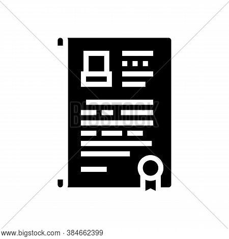 Will Death Certificate Glyph Icon Vector. Will Death Certificate Sign. Isolated Contour Symbol Black