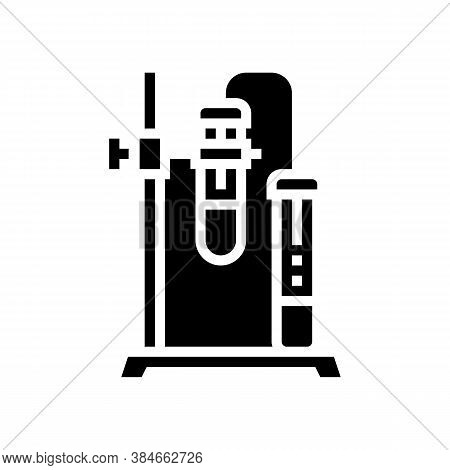 Stand And Clamp With Tube Glyph Icon Vector. Stand And Clamp With Tube Sign. Isolated Contour Symbol