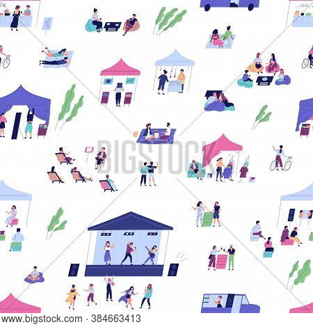 Diverse People Spending Time At Summer Indie Festival Vector Flat Illustration. Man, Woman And Child