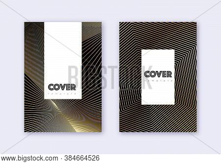 Hipster Cover Design Template Set. Gold Abstract Lines On Black Background. Captivating Cover Design