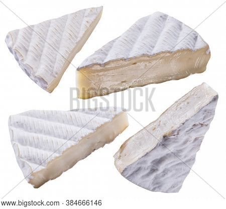 Set of cross sections of brie cheese on white background.  File contains clipping paths.