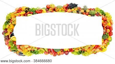 Rectangular wide frame of bright fruits, vegetables and berries isolated on a white background.