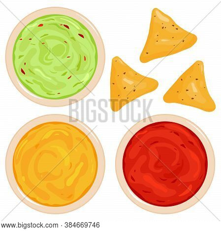 Bowls Of Avocado Guacamole Dip, Tomato Salsa, Cheese Sauce And Nachos Chips. Top View. Vector Illust