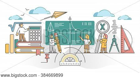 Mathematics Study As Algebra, Math And Geometry Education Outline Concept. Learning Knowledge About