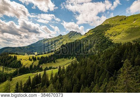 Steep Slopes In Summer, Huge Limestone Walls, Panoramic Peaks Andmountains Withvalleys Around. Dwa