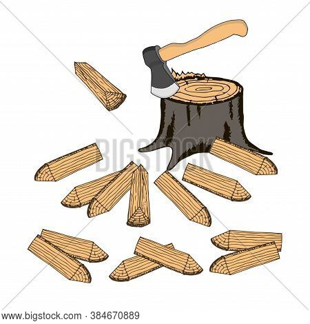 Ax In The Stump, Chopped Firewood. Colorful Art Design Elements Hand Drawn Stock Vector Illustration