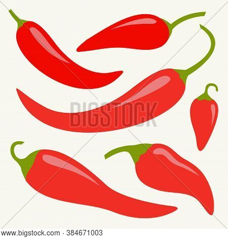 Chili Hot Pepper Icon Set. Red Chilli Cayenne Peppers. Flat Design. White Background. Isolated. Vect