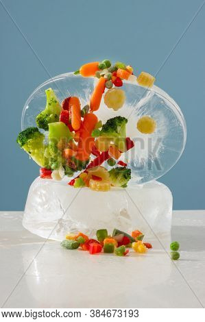Frozen Vegetables: Paprika, Carrot, Broccoli, Mini Corn, Tomato And Green Pea With A Large Piece Of